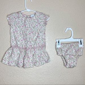 Gap baby girl floral print dress and diaper cover